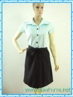 1206เสื้อผ้าแฟชั่น ชุดทํางานทูโทนปกเชิ๊ตตีเกล็ดโค้งหน้าอกกระดุมเปิดได้ กระโปรงทรงเอสีดำ ผ้าคอตตอล100มีซับใน