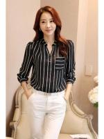 LALANG Hot Sell Korean Style Shirt Women Striped Tops V-neck BlouseBlack