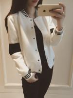 Korea เสื้อคลุม แขนยาว ผ้าฝ้าย แต่งแถบ สีขาว รุ่น DA16-8225
