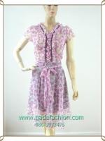 1704เสื้อผ้าแฟชั่น ชุดเดรสทำงานชมพูคอระบายกดเทปแต่งรอบคอหวานสไตล์สาวเรียบร้อย ผ้าชึฟองลายเชอรี่ สวมง่ายเบาสบายมีซับใน