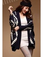 Cyber Geometric Pattern Loose Sweater Outwear Cardigan (Black)