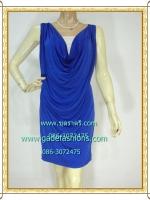 1064 ชุดเดรสชุดราตรีสีน้ำเงินสดผ้าเกาหลีเนื้อยืดนิ่มคอถ่วงแขนกุดกระโปรงสั้นเกาะสะโพกบริเวณเอวมียางยืด
