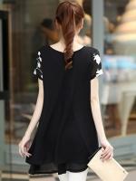 HengSong Short Sleeves Women's Clothing Embroidery Chiffon KoreaVersion Ladies Dresses Shirt Black