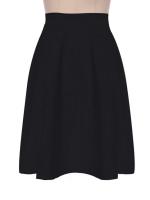 Cyber High Waist Ladies Women A-Line Pleated Midi Skirt (Black)