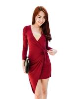 Fashionstory Mini Women - Dresses ผ้าสเป็นเดกเนื้อนิ่ม แบบเก๋คอวีป้ายทับสีแดงเข้ม