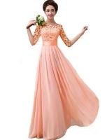 Zanzea 2016 Fashion Women Dresses Half Sleeve Lace Chiffon PatchworkSlim Elegant Maxi Long Princess Party Women is Dresses Onlinees Vestidos Plus SizePink