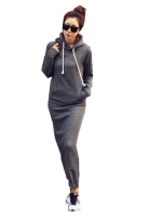 Zanzea Women Fleece Autumn Winter Slim Hoodie Bodycon HoodedSweatshirts Sweater Long Maxi Women is Fashion Dresses Dark Gray