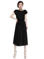 Women dress chiffion short sleeve fashion waist design