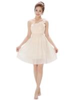Eozy Chiffon Sleeveless Bridesmaid Women is Fashion Dresseses Flower Korean PartyEvening Wedding Single Floral Strap Homecoming Skirts SizesS,M,L,XL,2XL(Beige)