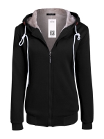 Sunwonder ACEVOG Women Fashion Casual Hooded Zipper Closure PureColor Thick Leisure Sports Slim Tops Hoodie Sweatshirt (Black)