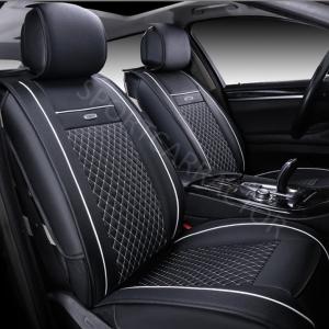ชุดหุ้มเบาะรถยนต์แบบหนัง สีดำด้ายขาว