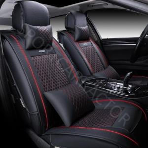 ชุดหุ้มเบาะรถยนต์แบบหนัง สีดำด้ายแดง