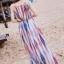 MAXI DRESS ชุดเดรสยาว พร้อมส่ง พื้นขาวตกแต่งลวดลายสีแดงสลับสีกรมท่า thumbnail 2