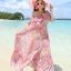MAXI DRESS ชุดเดรสยาว พร้อมส่ง สีชมพู ลายดอกไม้สีโทนม่วง สวยมาก ดีเทลระบายเป็นชั้นช่วงคอเสื้อ thumbnail 2