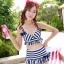 ชุดว่ายน้ำทูพีช สีน้ำเงิน ลายทางสลับสีขาว น่ารัก แต่งกระโปรงระบาย ดีเทลโบว์น่ารัก thumbnail 1