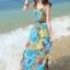 MAXI DRESS ชุดเดรสยาว พร้อมส่ง สีโทนฟ้า ผ้าชีฟอง เนื้อนิ่ม ใส่สบาย พิมพ์ลายดอกไม้สวยมากๆค่ะ thumbnail 1