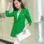 เสื้อสูทแฟชั่น พร้อมส่ง สีเขียว ตัวยาว คลุมสะโพก แขนยาว คอปกเก๋ แต่งสายคาดเอวด้านหลัง งานสวยดีไซน์เก๋มากๆ thumbnail 3