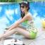 ชุดว่ายน้ำวันพีช พื้นขาว ลายหัวใจสีเขียว น่ารัก สายเดี่ยว แต่งเว้าโชว์ด้านหลัง ดีเทลระบายเป็นชั้นๆค่ะ thumbnail 5