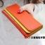 กระเป๋าสตางค์แฟชั่น พร้อมส่ง ด้านนอกสีส้ม ด้านในสีเหลือง ใบยาว DESIGN สุดเก๋ ลายหนังงู สวยหรู thumbnail 2