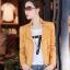 เสื้อแจ็คเก็ต เสื้อหนังแฟชั่น พร้อมส่ง สีเหลือง หนังด้าน มาดเซอร์ คอจีน ดีเทลด้วยปกโฉบเฉี่ยว สุดเท่ห์ thumbnail 1