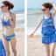 ชุดว่ายน้ำทูพีช เซ็ตคู่ชุดชั้นในเข้ากับชุด สีน้ำเงินสลับสี ลายทางเก๋ๆ ชุดเดรสแต่งสายรูดเอว thumbnail 2