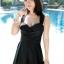 ชุดว่ายน้ำวันพีช สีดำ แต่งด้วยผ้าป้ายช่วงหน้าอก สายไขว้ด้านหลัง กระโปรงบานพริ้วๆ thumbnail 2