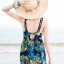 ชุดว่ายน้ำวันพีช สีกรม ดีเทลลวดลายใบ หลากสี คอวีลึก แต่งเว้าด้านหลัง กระโปรงพริ้วๆ น่ารัก thumbnail 8