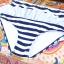 ชุดว่ายน้ำทูพีช สีน้ำเงิน ลายทางสลับสีขาว น่ารัก แต่งกระโปรงระบาย ดีเทลโบว์น่ารัก thumbnail 7