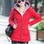 เสื้อกันหนาวสีแดง พร้อมส่ง แฟชั่นมาใหม่สไตล์เกาหลี ซิบหน้า มีฮูดสุดเท่ห์ ฮูดบุด้วยขนสัตว์สังเคราะห์นิ่มๆ thumbnail 3