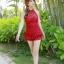 ชุดว่ายน้ำวันพีช สีแดง แต่งช่วงตัวย่นๆ ดีเทลผ้าลูกไม้ช่วงหน้าอกนน่ารัก สายคล้องคอ ผูกโบว์ด้านหลังเซ็กซี่ แต่งกระโปรงระบายเป็นชั้นๆ thumbnail 1