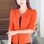 เสื้อสูทแฟชั่น เสื้อสูททำงาน เสื้อสูทสำหรับผู้หญิง พร้อมส่ง สีส้มสดใส ผ้าโพลีเอสเตอร์ 100 % เนื้อดี งานตัดเย็บเนี๊ยบ เย็บเก็บตะเข็บเรียบร้อยค่ะ เนื้อผ้ามีความยืดหยุ่นได้ค่ะ ใส่สบาย แต่งแขนพับสามส่วน thumbnail 3