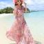 MAXI DRESS ชุดเดรสยาว พร้อมส่ง สีชมพู ลายดอกไม้สีโทนม่วง สวยมาก ดีเทลระบายเป็นชั้นช่วงคอเสื้อ thumbnail 1