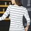 เสื้อแฟชั่น เสื้อยืดแฟชั่น พร้อมส่ง สีขาว ลายทาง แขนยาว ผ้าเนื้อนิ่ม ใส่สบาย แฟชั่นมาใหม่สไตล์เกาหลี thumbnail 2