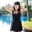 ชุดว่ายน้ำวันพีช สีดำ แต่งด้วยผ้าป้ายช่วงหน้าอก สายไขว้ด้านหลัง กระโปรงบานพริ้วๆ thumbnail 3