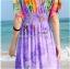 maxi dress ชุดเดรสยาว พร้อมส่ง สีม่วง คอวีลึก ลายดอกไม้สีสัน สม๊อคช่วงเอว สวยมากๆค่ะ thumbnail 6