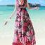 MAXI DRESS ชุดเดรสยาว พร้อมส่ง พื้นสีดำ ผ้าชีฟอง ลายดอกไม้สีโทนแดงทั้งชุด คอวี จั้มช่วงหน้าอก ชายกระโปรงมีสองชั้น สวย thumbnail 5