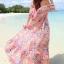 MAXI DRESS ชุดเดรสยาว พร้อมส่ง สีชมพู ลายดอกไม้สีโทนม่วง สวยมาก ดีเทลระบายเป็นชั้นช่วงคอเสื้อ thumbnail 4