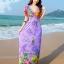 maxi dress ชุดเดรสยาว พร้อมส่ง สีม่วง คอวีลึก ลายดอกไม้สีสัน สม๊อคช่วงเอว สวยมากๆค่ะ thumbnail 1
