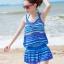 ชุดว่ายน้ำทูพีช เซ็ตคู่ชุดชั้นในเข้ากับชุด สีน้ำเงินสลับสี ลายทางเก๋ๆ ชุดเดรสแต่งสายรูดเอว thumbnail 1