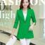 เสื้อสูทแฟชั่น พร้อมส่ง สีเขียว ตัวยาว คลุมสะโพก แขนยาว คอปกเก๋ แต่งสายคาดเอวด้านหลัง งานสวยดีไซน์เก๋มากๆ thumbnail 5