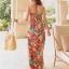 MAXI DRESS ชุดเดรสยาว พร้อมส่ง สีโทนส้ม สายคล้องคอ แต่งลวดลายดอกไม้สีสันสดใส ชุดใส่ไปเที่ยวทะเล หรือปาร์ตี้ริมทะเลได้ค่ะ โดดเด่น ไม่ซ้ำใคร thumbnail 4