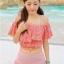 ชุดว่ายน้ำทูพีช สีชมพู เสื้อลายดอกไม้ กางเกงแต่งระบายน่ารัก มียกทรงเข้ากับตัวชุด สีสันสดใส น่ารักมากๆ thumbnail 2