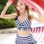 ชุดว่ายน้ำทูพีช สีน้ำเงิน ลายทางสลับสีขาว น่ารัก แต่งกระโปรงระบาย ดีเทลโบว์น่ารัก thumbnail 6