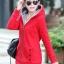 เสื้อกันหนาวสีแดง พร้อมส่ง แฟชั่นมาใหม่สไตล์เกาหลี ซิบหน้า มีฮูดสุดเท่ห์ ฮูดบุด้วยขนสัตว์สังเคราะห์นิ่มๆ thumbnail 1