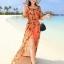 MAXI DRESS ชุดเดรสยาว พร้อมส่ง สีส้ม แขนสามส่วน โชว์ไหล่เซ็กซี่ เอวยางยืด ผ้าชีฟองลายแอ็คเซสเซอร์รี่ thumbnail 1