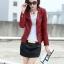 เสื้อแจ็คเก็ต เสื้อหนังแฟชั่น พร้อมส่ง สีแดง คอจีน หนังด้าน แบบเท่ห์ๆ แต่งซิบรูดช่วงปลายแขน และ ช่วงเอว สุดเท่ห์ thumbnail 3
