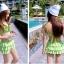 ชุดว่ายน้ำทูพีช สีเขียวสดใส ยกทรงแต่งระบาย ดีเทลกระโปรงระบายเป็นชั้นๆ สีสันสดใส น่ารักมากๆ thumbnail 4