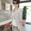 เสื้อสูทแฟชั่น เกาหลี พร้อมส่ง ลายทาง ขาว-ดำ แขนยาว แต่งแขนพับสีชมพูเก๋ คอวีลึก ผ้าเนื้อดี ไม่มีซับใน ใส่สบาย thumbnail 2
