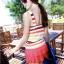 ชุดว่ายน้ำวันพีช สีโทนแดง ลายทางสลับสีสันสดใส คอวี แต่งกระโปรงบาน 2 ชั้น น่ารัก สุดๆ thumbnail 4