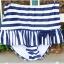ชุดว่ายน้ำทูพีช สีน้ำเงิน ลายทางสลับสีขาว น่ารัก แต่งกระโปรงระบาย ดีเทลโบว์น่ารัก thumbnail 11